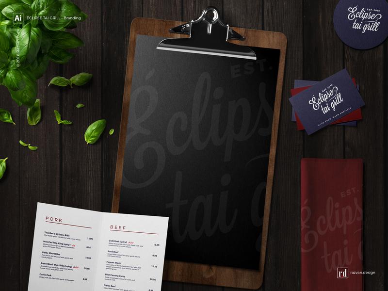 Éclipse tai grill - Branding - Shot 2 branding thaigrill grill thai razvandesign design logo designiasi designer