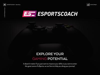 Esportscoach - Branding - Shot 1 players coaching coach player game play logo branding esports gaming