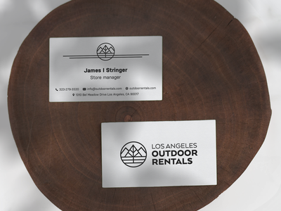 Business Card Design for LA Outdoor Rentals business card eco minimalist camping los angeles rental outdoor logo adventure thicklines kayak logo travel nature designiasi hiking