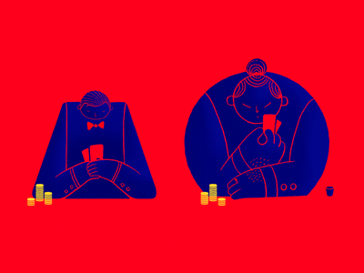 Poker players casino poker pencil procreate character design graphic design character illustrator design illustration