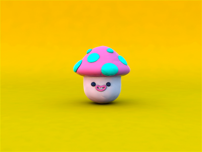 Clay mushroom 3d cinema4d mushroom design character design motion character animation