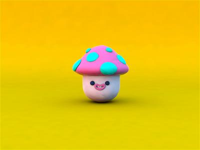 Clay mushroom 3d cinema4d mushroom design character design motion character animation