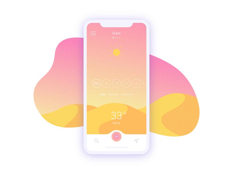 Weather App Concept sunny day sunny ux-ui ux ui design user interface ui illustration ios vector design mobile app weather app weather forecast weather