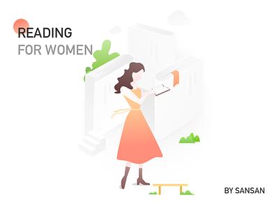 Reading book sketch women