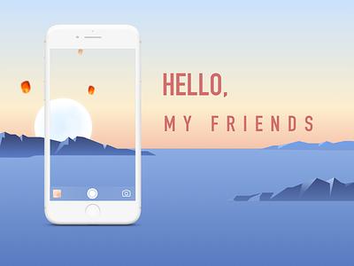 Hello,friends moon, view, , ,iphone sketch,app
