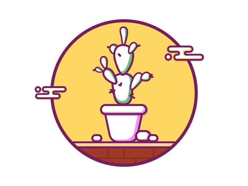 Cacti02 sun cacti line icon sketch