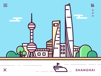Shanghai tree build river line icon sketch