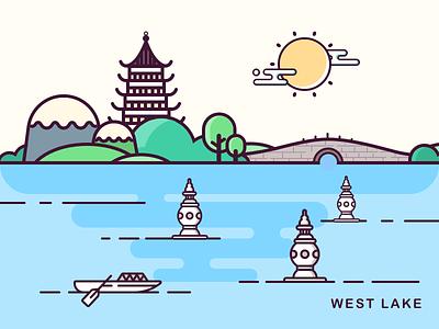 The spring  of  Hangzhou west lake boat bridge tree build river line icon sketch