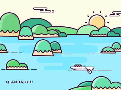 thousand islands mountain tree river line icon sketch