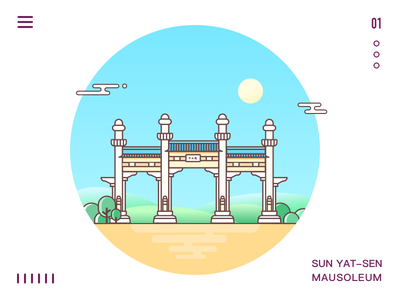 Sun Yat Sen Mausoleum sun mausoleum line icon sketch