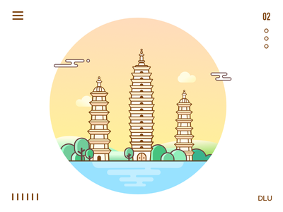 Chinese architecture architecture mountain tree river line icon sketch
