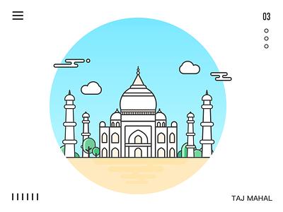 architecture of Taj Mahal architecture mahal taj tree river line icon sketch