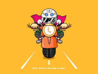 Drive. Drive to the edge of town 01 design illustration icon line sketch
