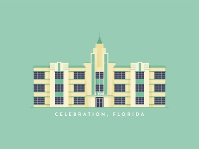 Art Deco Building disneyworld celebration florida holiday illustrator design building design illustration building art deco