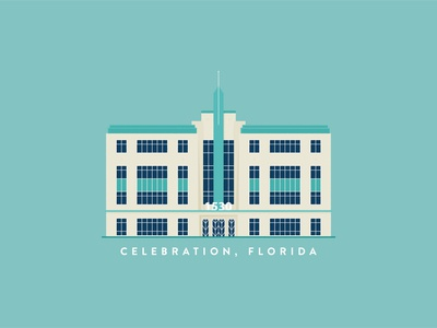 Art Deco Building 2d vector holiday adobe illustrator illustration art deco design building design building florida celebration