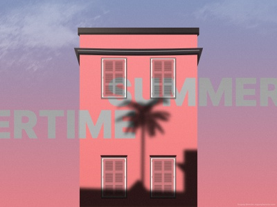 Summertime summertime sky sunset blue pink palm gradient flat 2d illustration summer house