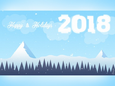 Hello Dribbble! Happy New Year! 2018 Postcard dribbble hello new year year new happy 2018