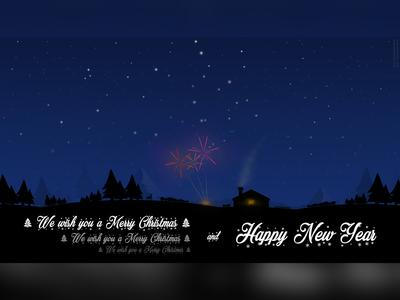 Merry Christmas and Happy 2019! blue illustration light 2d trees fairworks house map sky skymap christmas postcard 2019 new year happy