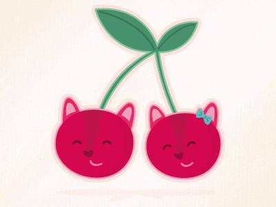 Cherry kitties illustration cute cats cherries fruit