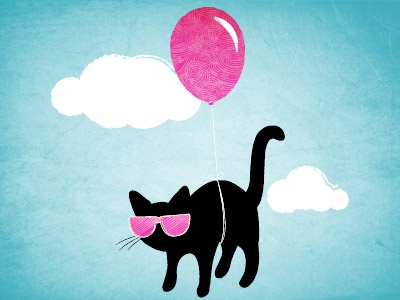 Cool Cat illustration cute balloon sky
