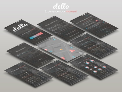 Dello Screen Spread social app social media app map ui maps ux designer user account minimal app web design ux design daily ui uxdesign graph app designer uidesign app design ux ui graphic design design