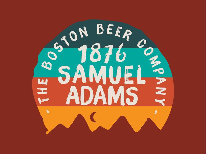 Sam Adams Summers texture brush sunset vector screen print design apparel illustration mountain badge brewery outdoors summer beer