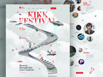 KIKK Festival 2020 layout motion illustration white design website webdesign