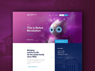 Museum Of Science And Industry Of Chicago - Home page layout blue illustration ui ux webdesign museum