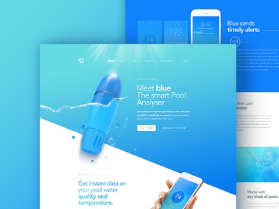 Riiot Labs - Homepage product water blue webdesign video illustration design
