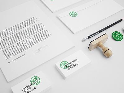 Les Plus Beaux Villages De Wallonie - Rebranding dogstudio logo green business cards branding