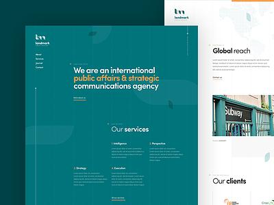 Landmark - Homepage design dogstudio public affairs dark white green product website webdesign homepage