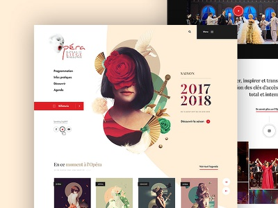 Opera Royal de Wallonie - Pitch - Homepage dogstudio culture illustration beige white layout visual opera product website webdesign