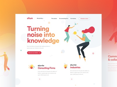 Elium - Homepage dogstudio white clean orange red elements illustrations color startup product layout webdesign
