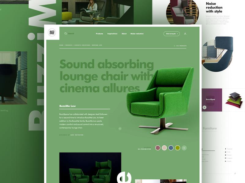 Buzzispace - Pitch page product green webdesign dogstudio interior design