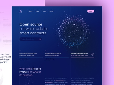 Accord - Discovery dogstudio crypto currency layout technology blue pink design cryptocurrency smart contract crypto webdesign