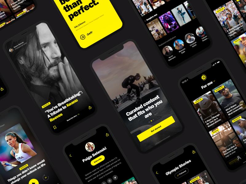:Betr - A positive community for GenZ webdevelopment genz black yellow community app mobile product digital design webdesign