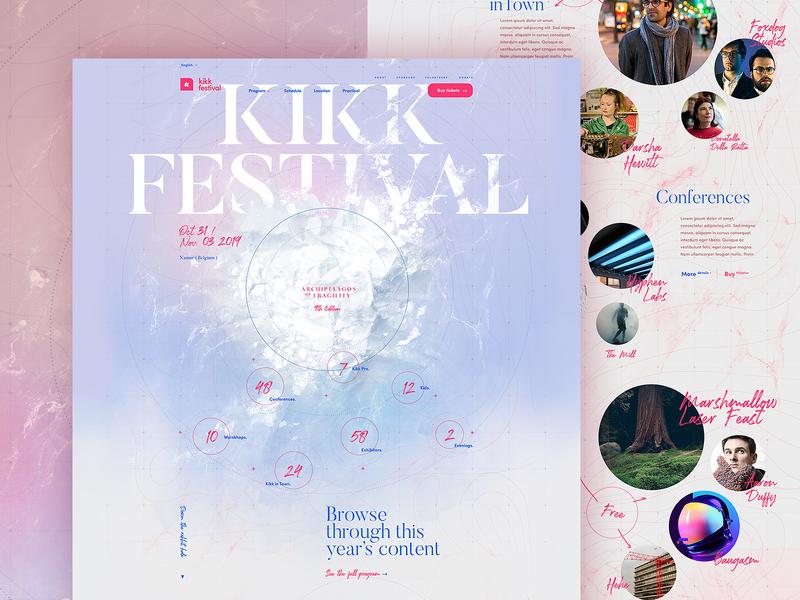 Kikk Festival 2019 - Homepage dogstudio kikk illustration homepage website webdesign branding