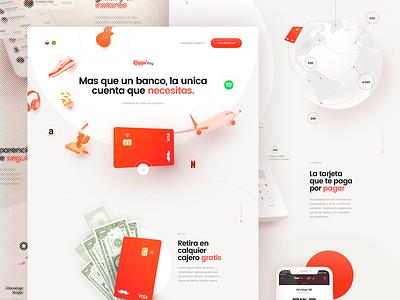 Rappi Pay - Single Page webgl typography rappi animation ux ui product bank card card banking singlepage webdesign