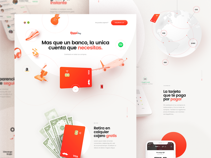 Rappi Pay - Single Page webgl typography rappi animation ux ui product bank card card banking singlepage webdesign