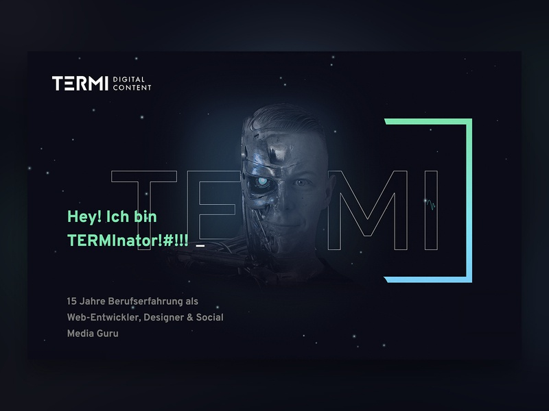 ABOUT ME site - from my portfolio stars galaxy space sci-fi terminator transitions animations animation dresden websites webdesigner freelancer über mich about page showcase portfolio aboutme webdesign website