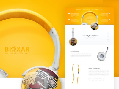 Bioxar - Website design landingpage product yellow web design website kopfhörer headset headphones webdesign