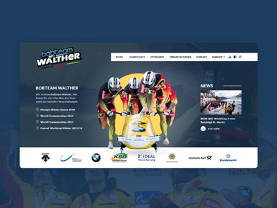 Bobteam Walther - website design & code responsive fullscreen video cms contao website wintersport winter bobbahn bob sports sport olympia webdesign