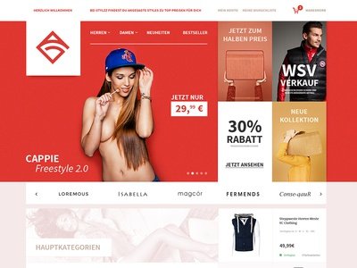 Ecommerce, Shop - Design - Just4Fun onlineshop online einkaufen shopyfi shopware world red clothing cappie webdesign shop ecommerce