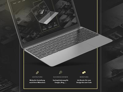 update my portfolio - web/dev gold icons keyfacts macbook start portfolio