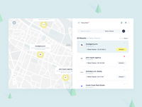 T-E — Search Result illustrative corporate map light real estate search website blue ux clean ui web
