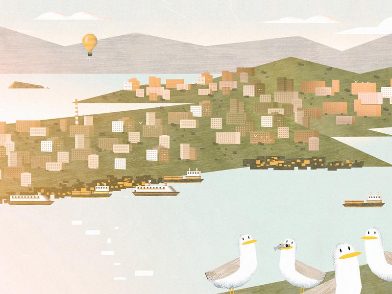 Seagulls are Evil art landscape city seagulls illustration