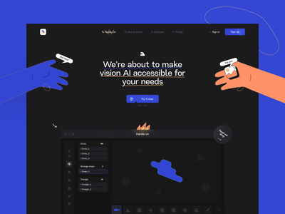 Q-S — Pages corporate design blue dark clean illustrative illustration ux ui web