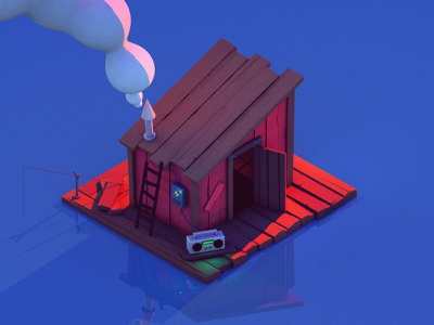 Wish i was there boat 3d illustration