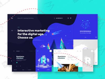 Meteora case study. website web design ui design interface dark corporate illustrative web
