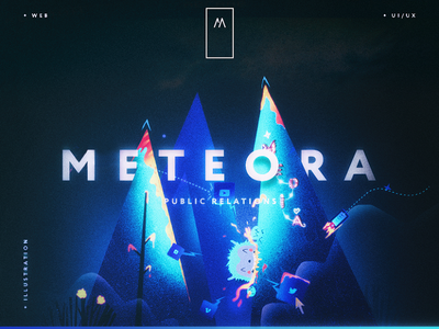 Meteora web illustrative corporate dark design interface ui web design website